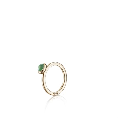 Love Bead Ring Green Agate 13-101-01450(1)